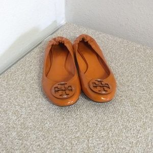 Tory Burch Reva Orange Patent Leather Flats